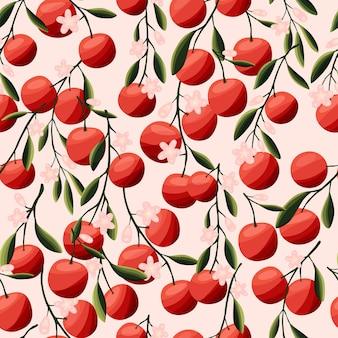 Sinaasappels op boomtakken naadloos patroon tropisch zomerfruit op roze achtergrond