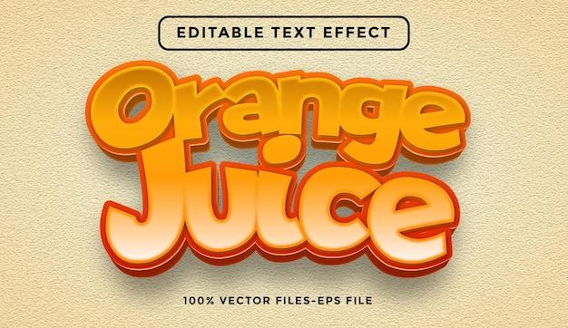 Sinaasappelsap bewerkbare teksteffect premium vectoren