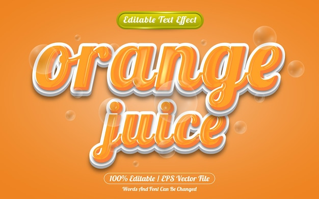 Sinaasappelsap bewerkbare teksteffect sjabloonstijl