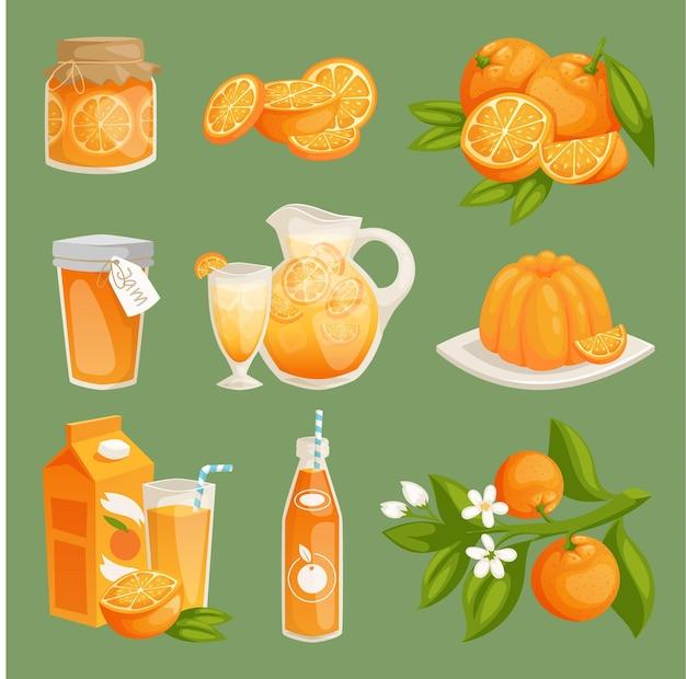 Sinaasappelsap voedselproducten illustratie verse natuurlijke sinaasappel citrusvruchten slice set