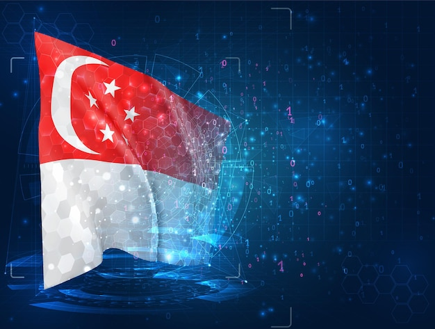Singapore, 3d-vlag op blauwe achtergrond met hud-interfaces