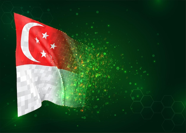 Singapore, 3d vlag op groene achtergrond met polygonengon