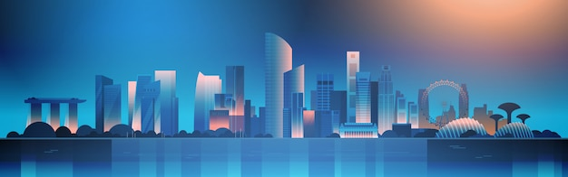 Singapore bij nacht illustratie mooie cityscape met beroemde bezienswaardigheden en wolkenkrabbers