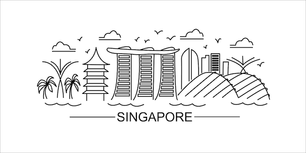 Singapore lineart illustratie singapore lijntekening moderne stijl singapore stad illustratie hand
