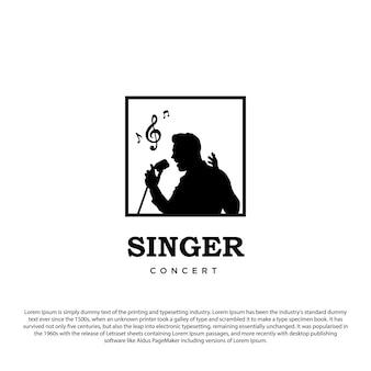 Singer logo silhouet zanger logo design vector illustratie