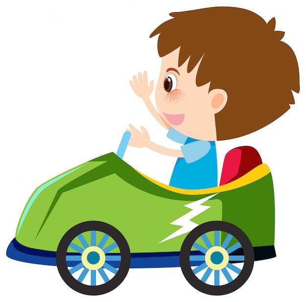 Single karakter van jongen in groene auto