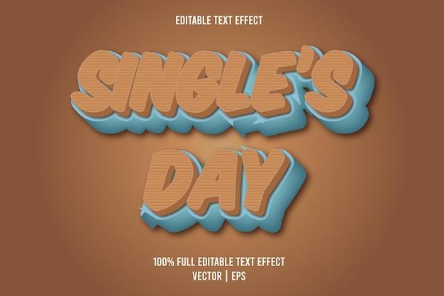 Single's day 3 dimensie bewerkbaar teksteffect bruine en cyaan kleur