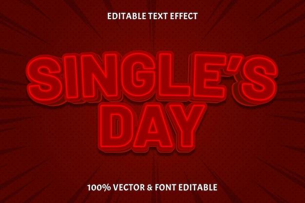 Single's day bewerkbaar teksteffect 3-dimensionale neonstijl