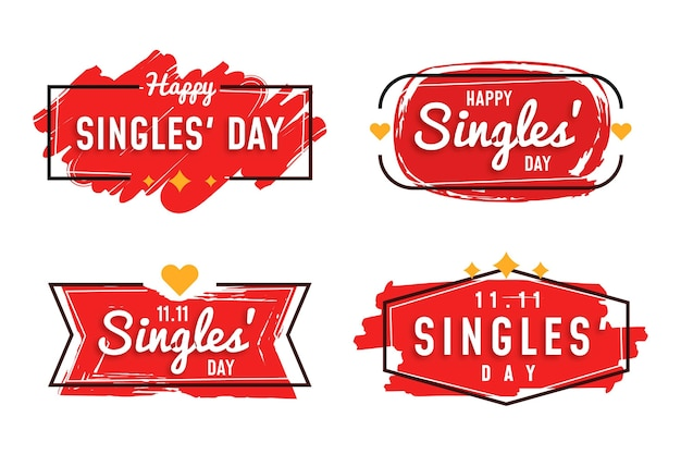Singles day badge-collectie