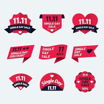 Singles day badge-collectie