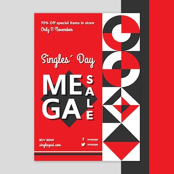 Singles day flyer-sjabloon