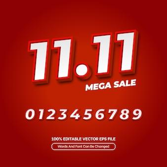 Singles day red 1111 sale 3d-sjabloon teksteffect bewerkbare lettertypestijl voor bannerpromotie