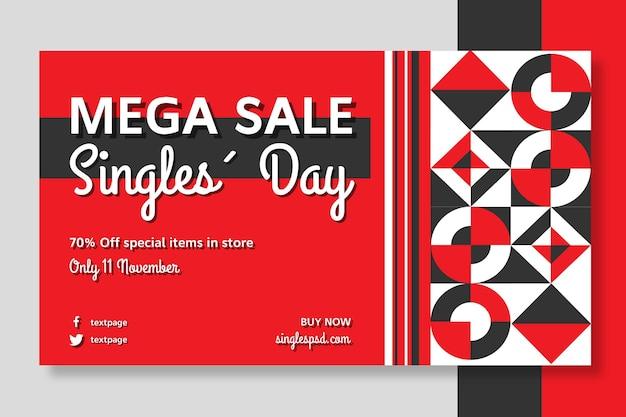 Singles day sjabloon voor spandoek