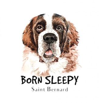 Sint bernard hond aquarel voor afdrukken.