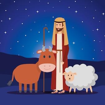Sint-jozef met os en schapen in de nacht