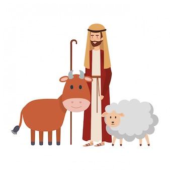 Sint jozef met os en schapen