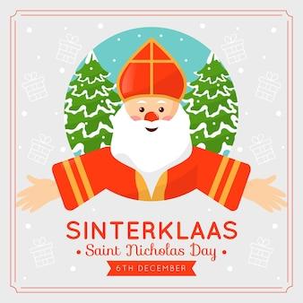 Sinterklaas dag platte ontwerp achtergrond