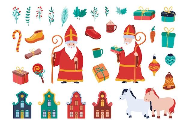 Sinterklaas elementen instellen. hand getrokken, geïsoleerd op een witte achtergrond