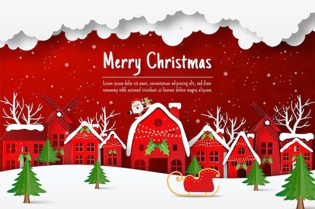 Sinterklaas komt naar het dorp om een cadeautje te geven op eerste kerstdag