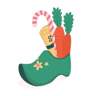 Sinterklaas - sinterklaas - nederlandse kerstman traditionele laarzen met geschenken, wortelen en snoep.