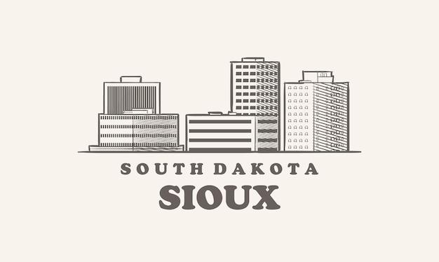 Sioux skyline, south dakota schets usa city Premium Vector