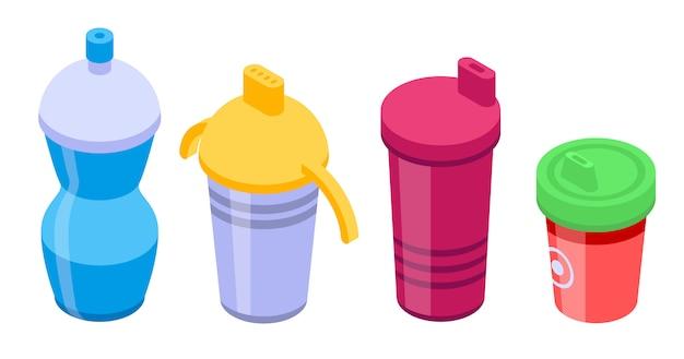 Sippy cup iconen set, isometrische stijl
