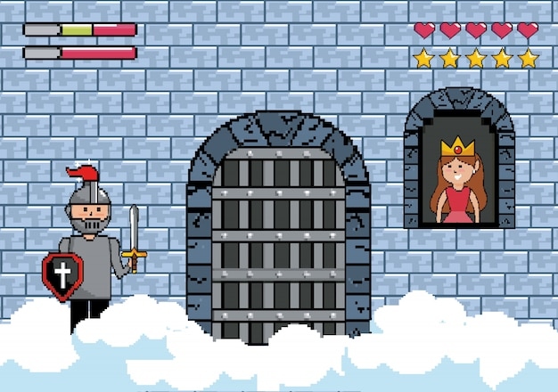 Sir jongen in de kasteeldeur en prinses in het raam