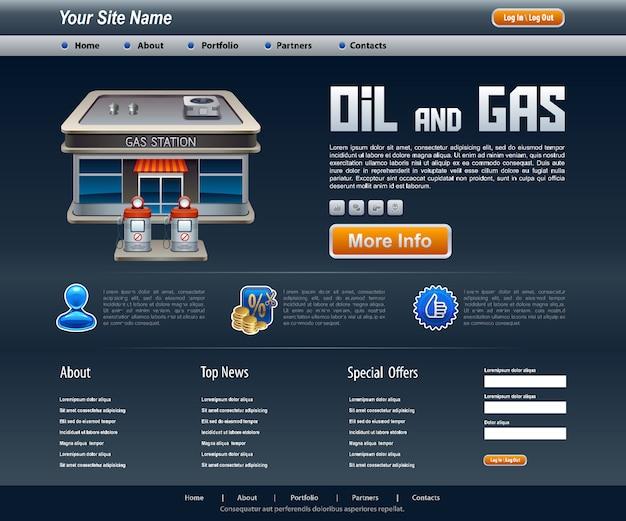 Site over olie- en gasconcept voor web en applicaties