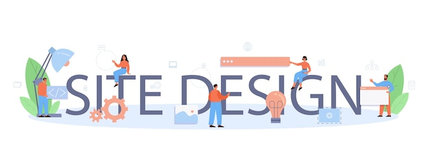 Siteontwerp typografische formulering en illustratie.