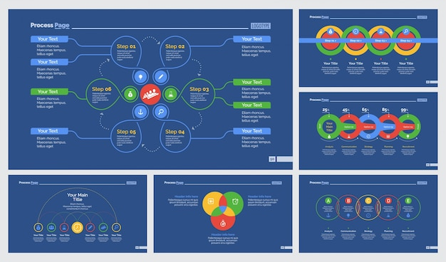 Six business slide templates set