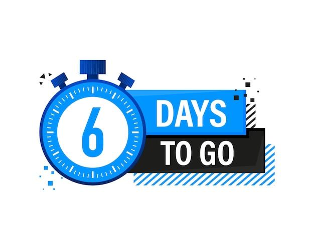 Six days to go timerbanner, blauwe embleembanner