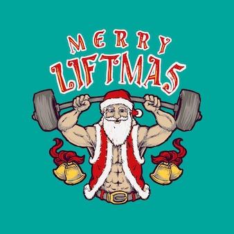 Six pack santa lifting barbell merry liftmas
