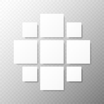 Sjablonen collagekaders voor foto of illustratie montage fotolijstsjabloon