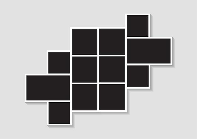 Sjablonen fotocollage afbeeldingsframes voor foto- of fotomontage. foto montage abstract. vector illustratie