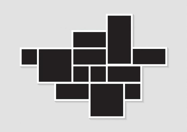 Sjablonen fotocollage afbeeldingsframes voor foto of fotomontage