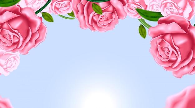 Sjablonen met realistisch van mooie roos en bloem op blauwe achtergrond