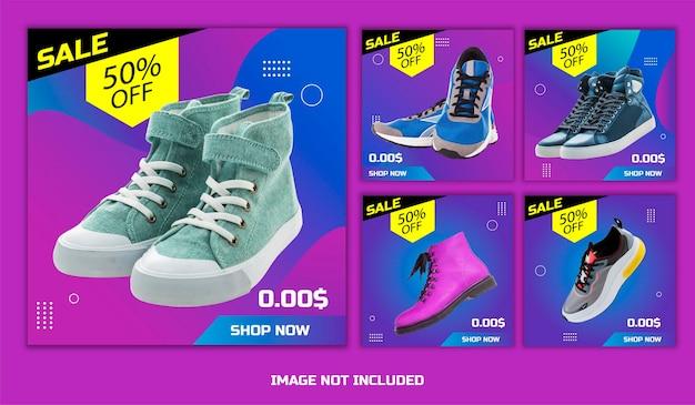 Sjablonen over korting schoenenverkoop met verschillende soorten schoenen