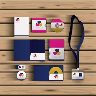 Sjablonen van harten van zakelijke briefpapier