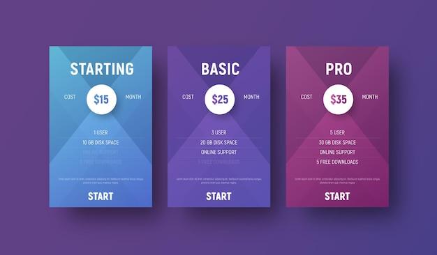 Sjablonen van vectortabellen voor een website met een cirkel voor het specificeren van de prijs.