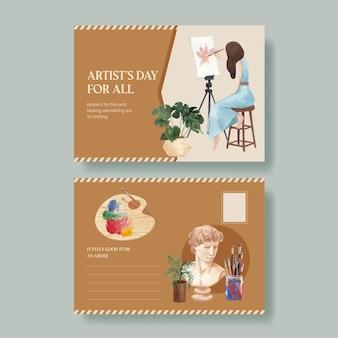Sjablonen voor ansichtkaarten met internationale kunstenaarsdag in aquarelstijl
