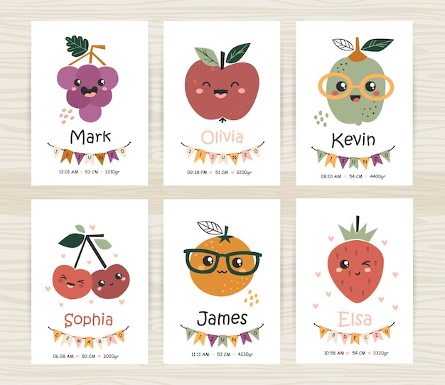 Sjablonen voor baby showeruitnodigingen met schattig fruit. perfect voor kinderkamer, kinderkamerdecoratie, posters en wanddecoraties