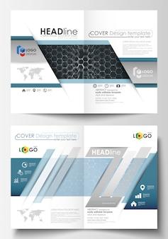 Sjablonen voor bi-fold brochure, tijdschrift, flyer of rapport. cover ontwerpsjabloon, gemakkelijk bewerkbare vector lay-out in a4-formaat. chemiepatroon, hexagonale moleculestructuur. geneeskunde en wetenschap concept