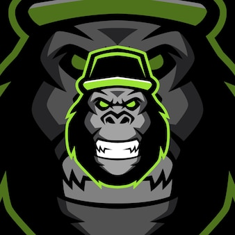 Sjablonen voor boze gorilla-mascotte-logo