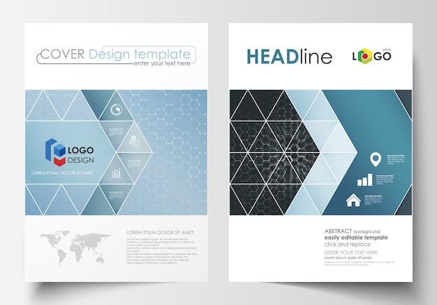 Sjablonen voor brochure, tijdschrift, flyer of rapport. cover ontwerpsjabloon, gemakkelijk bewerkbare vector lay-out in a4-formaat. chemiepatroon, hexagonale moleculestructuur. geneeskunde en wetenschap concept