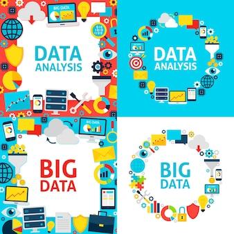 Sjablonen voor gegevensanalyse. vector illustratie vlakke stijl bedrijfsconcept.