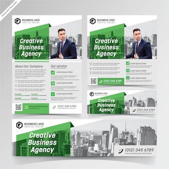 Sjablonen voor groene flyer, social media en banner voor creatieve zakelijke bureaus