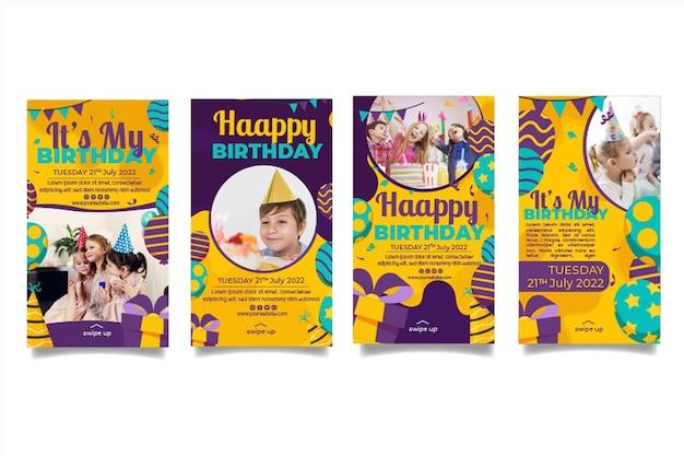 Sjablonen voor instagram-verhaal voor kinderverjaardag
