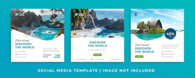 Sjablonen voor instagramposts voor reisadvertenties
