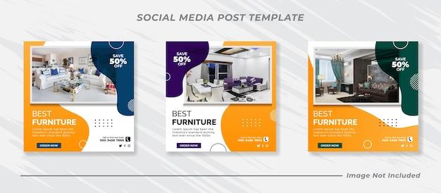 Sjablonen voor posts op sociale media voor huismeubilair