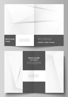 Sjablonen voor tweevoudige brochure. halftone punten, abstracte gradiëntachtergrond.